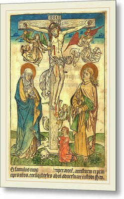 German 15th Century, Christ On The Cross With Angels Metal Print