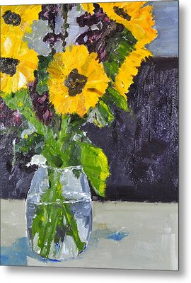Metal Print featuring the painting Glorious Sunflowers by MaryAnne Ardito