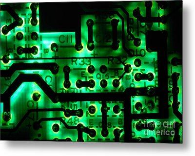 Glowing Green Circuit Board Metal Print by Amy Cicconi