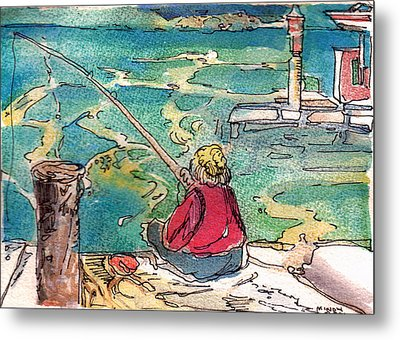 Gone Fishing Metal Print by Mindy Newman