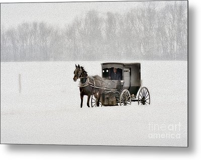Horse And Buggy In Snow Storm Metal Print by Dan Friend