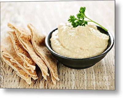 Hummus With Pita Bread Metal Print by Elena Elisseeva