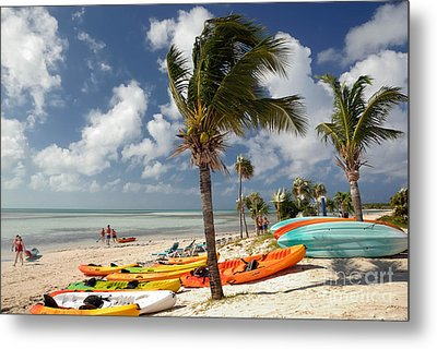 Kayaks On The Beach Metal Print by Amy Cicconi