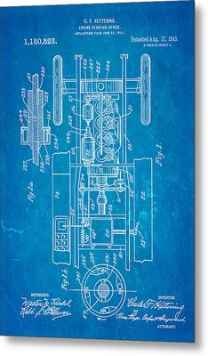 Kettering Electric Ignition Patent Art 1915 Metal Print by Ian Monk