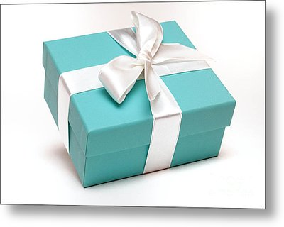 Little Blue Gift Box Metal Print by Amy Cicconi