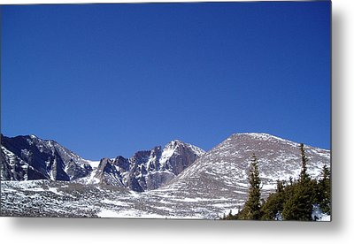Longs Peak And Blue Sky Metal Print