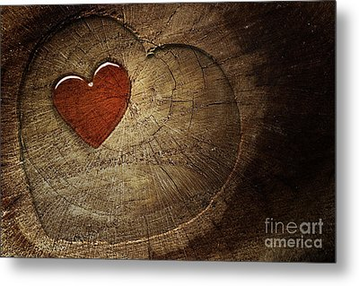 Love Text On  Wooden Background Metal Print by Mythja  Photography