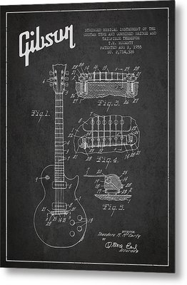 Mccarty Gibson Les Paul Guitar Patent Drawing From 1955 -  Dark Metal Print
