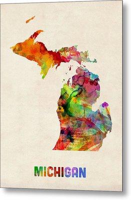 Michigan Watercolor Map Metal Print by Michael Tompsett