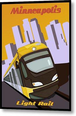 Minneapolis Light Rail Travel Poster Metal Print by Jude Labuszewski