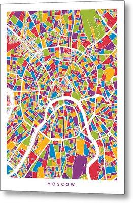 Moscow City Street Map Metal Print by Michael Tompsett