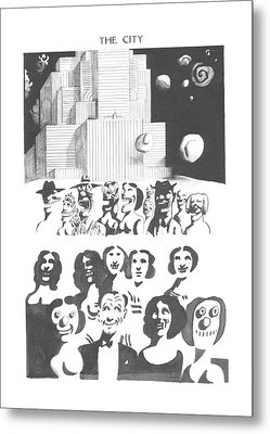 New Yorker February 24th, 1973 Metal Print by Saul Steinberg
