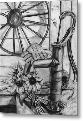 Old Water Pump Metal Print by Laneea Tolley
