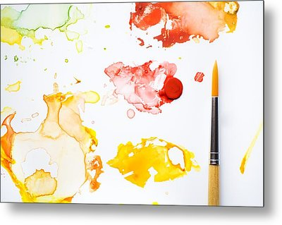 Paint Splatters And Paint Brush Metal Print by Chris Knorr