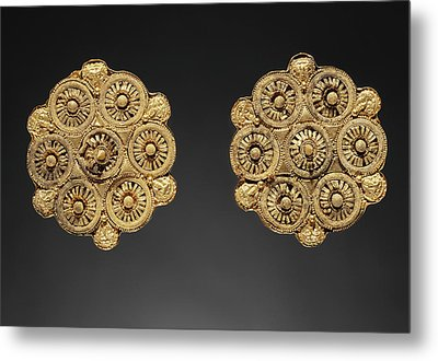Pair Of Disk Earrings Unknown Etruria Late 6th Century B Metal Print by Litz Collection