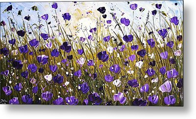 Poppis In Purple Metal Print by Jolina Anthony