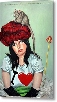 Rat Hat Metal Print by Shelley Laffal
