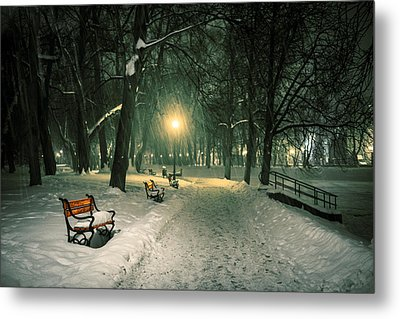Red Bench In The Park Metal Print by Jaroslaw Grudzinski
