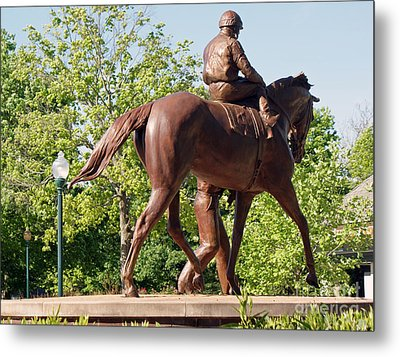 Rider In Bronze Metal Print by Roger Potts