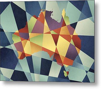 Australia Geometric Retro Map Metal Print