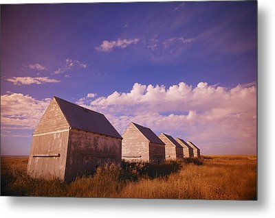 Row Of Old Farm Houses Metal Print by Kelly Redinger
