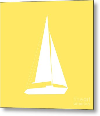 Sailboat In Yellow And White Metal Print