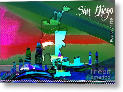 San Diego Map And Skyline Metal Print