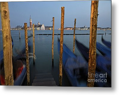 San Giorgio Maggiore Church And Gondolas At Dusk Metal Print by Sami Sarkis