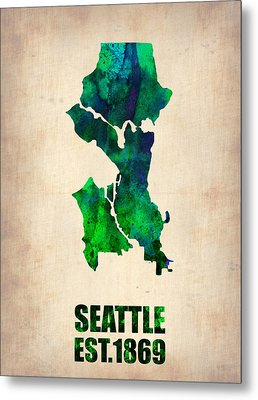 Seattle Watercolor Map Metal Print by Naxart Studio