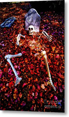Skeleton Rising From The Dead Metal Print by Amy Cicconi