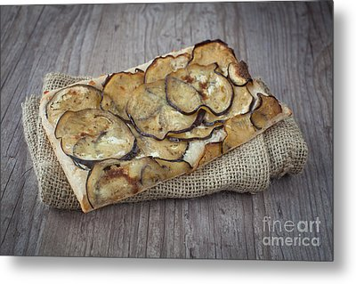 Sliced Pizza With Eggplants Metal Print by Sabino Parente