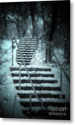 Snowy Stairway Metal Print by Jill Battaglia