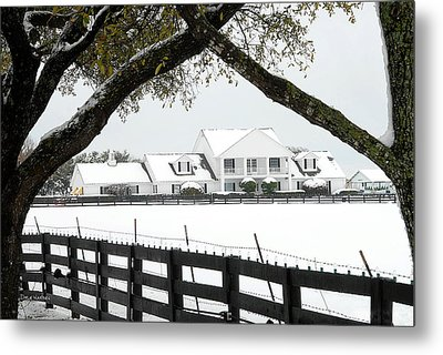 Southfork Ranch In Winter Metal Print by Dyle   Warren