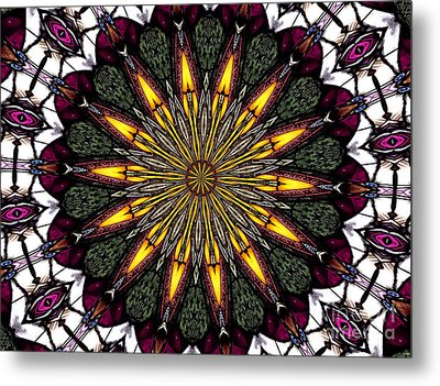 Stained Glass Kaleidoscope 1 Metal Print by Rose Santuci-Sofranko