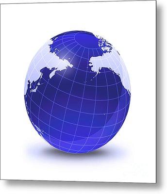 Stylized Earth Globe With Grid Metal Print