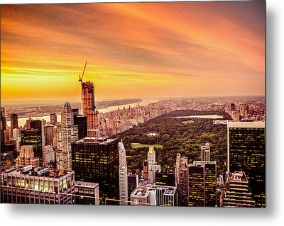 Sunset Over Central Park And The New York City Skyline Metal Print by Vivienne Gucwa