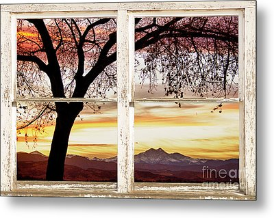Sunset Tree Silhouette Abstract Picture Window View Metal Print by James BO  Insogna