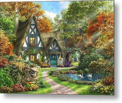 The Autumn Cottage Metal Print