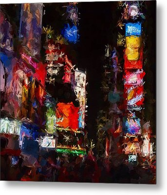 Times Square By Night Metal Print by Steve K