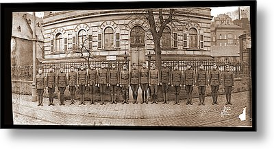 Troops In Front Of Hdqrs. 3rd Corps Metal Print