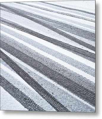 Tyre Tracks Metal Print by Tom Gowanlock