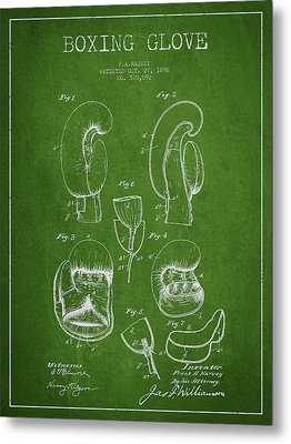 Vintage Boxing Glove Patent Drawing From 1896 Metal Print