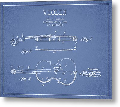 Violin Patent Drawing From 1928 Metal Print by Aged Pixel