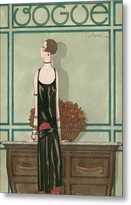 Vogue Magazine Cover Featuring A Woman Wearing Metal Print by Georges Lepape