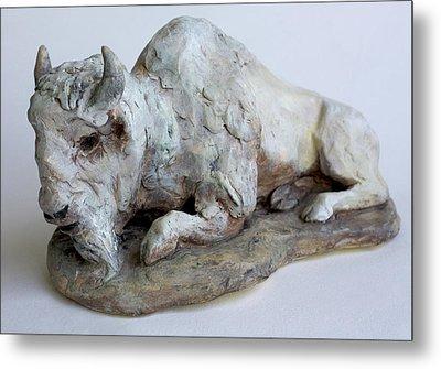 White Buffalo-sculpture Metal Print by Derrick Higgins