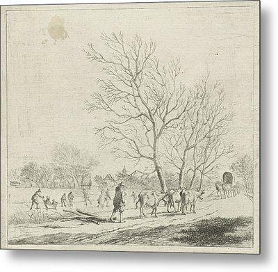 Winter Landscape With Cows And Skaters, Johannes Janson Metal Print