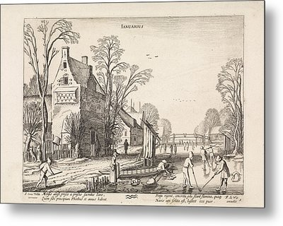 Winter Landscape With Flask Players On The Ice January Metal Print