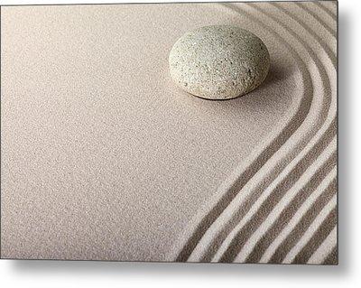 Zen Sand Stone Garden Metal Print by Dirk Ercken