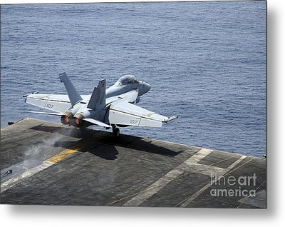 An Fa-18f Super Hornet Launches Metal Print by Stocktrek Images