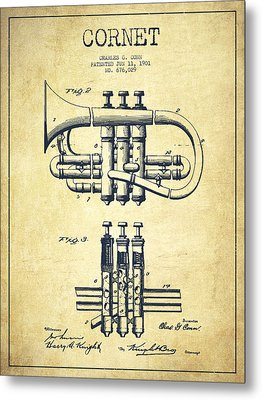 Cornet Patent Drawing From 1901 - Vintage Metal Print